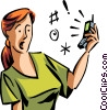 Vector Clip Art graphic  of a People on Cellular Phones