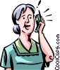 Vector Clipart illustration  of a People on Cellular Phones