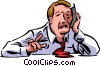 Businessman exhausted at work Vector Clipart picture