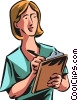 Woman writing on clipboard Vector Clip Art image