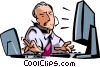 Vector Clipart image  of a Men on the Phone at Work