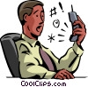 Vector Clip Art picture  of a Men on the Phone at Work