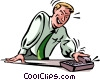 Men on the Phone at Work Vector Clip Art graphic