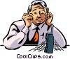 Vector Clip Art image  of a People on Cellular Phones