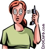 Vector Clip Art image  of a Women On The Phone