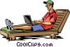 Man relaxing in beach chair with laptop computer Vector Clipart illustration