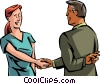 Vector Clip Art image  of a crossing his finger while shaking hands