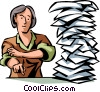 Doing Paperwork Vector Clipart illustration