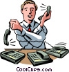 Vector Clipart graphic  of a Men on the Phone at Work