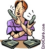 Women On The Phone Vector Clipart illustration
