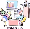 Vector Clip Art graphic  of a people in a sales meeting with