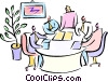 having a meeting sitting around an oval desk Vector Clip Art image