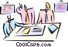 Vector Clip Art picture  of a having a meeting