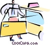 Vector Clipart graphic  of a businessman getting into a cab