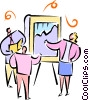 businesspeople looking at a sales chart Vector Clipart picture