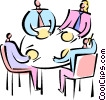 Vector Clip Art graphic  of a Business meeting over a meal
