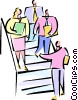 businesspeople walking down the stairs Vector Clipart picture