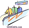 Vector Clip Art image  of a standing on a moving sidewalk
