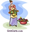 woman tending to the flowers in her pots Vector Clip Art graphic