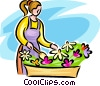 Woman tending to the flowers Vector Clipart illustration