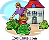 woman gardening Vector Clipart picture