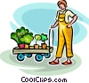 woman with plants getting ready to garden Vector Clip Art picture