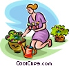 Woman with watering can planting flowers Vector Clip Art picture