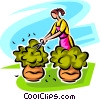 Vector Clip Art image  of a woman pruning shrubs