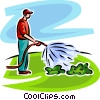 Vector Clipart graphic  of a man watering plants