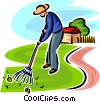 man raking the lawn Vector Clip Art picture