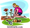 Vector Clip Art image  of a Woman planting plants