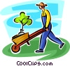 gardener with a plant in a wheelbarrow Vector Clipart graphic