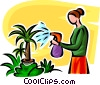 Vector Clip Art graphic  of a woman watering plants