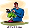 man looking after a bonsai plant Vector Clipart image