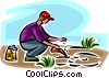 Vector Clip Art picture  of a gardener planting seeds