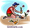 gardener planting flowers Vector Clip Art graphic
