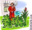woman watering a shrub while talking on the phone Vector Clip Art image
