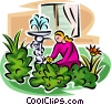 Vector Clipart graphic  of a woman working in the garden