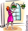 woman looking after her hanging baskets Vector Clip Art graphic