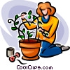 Vector Clipart image  of a woman planting plants in a pot