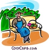 gardener resting on a bench Vector Clipart picture