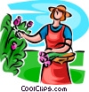 Vector Clip Art graphic  of a Woman picking flowers