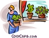 Vector Clip Art image  of a putting potted plants on a window sill