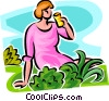woman sitting on the grass having a drink Vector Clip Art picture
