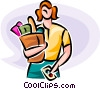 Vector Clipart graphic  of a Woman with a bag of groceries