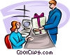 man buying a wrapped present Vector Clip Art picture
