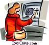 Vector Clipart graphic  of a woman at an ATM/bank machine