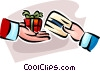 Vector Clipart illustration  of a person buying a gift with a