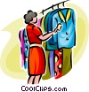 Vector Clip Art graphic  of a woman shopping for clothes