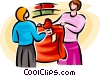 woman and a sales clerk buying clothes Vector Clip Art picture